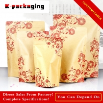 5 pcs Wholesale Printed Paper Bags Stand up Resealable Brown Kraft Pouch for Food or Tea